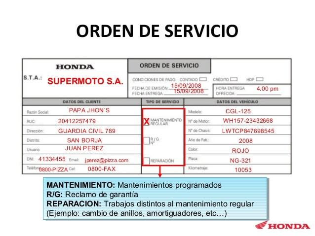 orden de servicio automotriz
